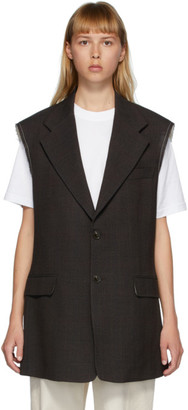 Raf Simons Brown Single-Breasted Sleeveless Blazer