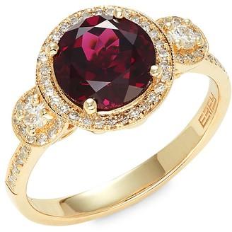 Effy 14K Yellow Gold, 0.34 TCW Diamond & Rhodalite Ring