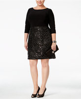 Adrianna Papell Plus Size Sequined A-Line Dress