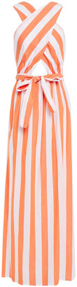 Mara Hoffman Crossover Bow-detailed Striped Cotton Maxi Dress