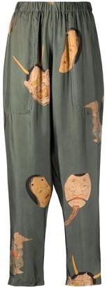 UMA WANG Graphic-Print Tapered Trousers