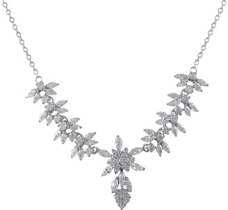 Luxiro Sterling Silver Cubic Zirconia Snowflake Statement Necklace