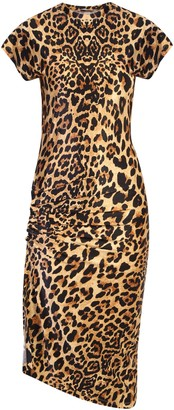 Paco Rabanne Draped Animalier Print Midi Dress