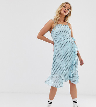 Glamorous Bloom wrap cami dress in star print-Blue