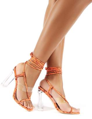 Public Desire Fussy Coral Snake Lace Up Perspex Block Heels