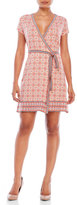 Max Studio Petite Short Sleeve Printed Jersey Wrap Dress