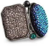 "Sparkling Sage ""Druzy and Jewel Collection"" Rectangle and Oval Bezel Duo Adjustable Ring"