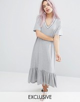 Monki Contrast Ruffle Hem Dress