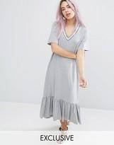 Monki Contrast Ruffle Hem Dress