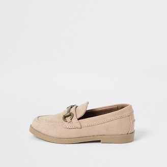 River Island Mini boys pink suedette snaffle loafers