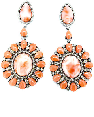 Arthur Marder Fine Jewelry 14K & Silver 3.25 Ct. Tw. Diamond & Coral Earrings