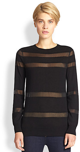 Saks Fifth Avenue Collection Sheer-Striped Sweater