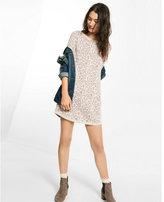 Express light gray leopard jacquard mini sweater dress