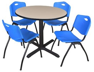 """BEIGE Hendrix Round Breakroom Table Set Symple Stuff Chair Finish: Blue, Size: 29"""" H x 36"""" W 36"""" D, Top Finish"""