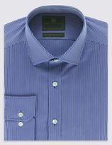 Marks and Spencer Performance Pure Cotton Slim Fit Non-Iron Striped Twill Shirt