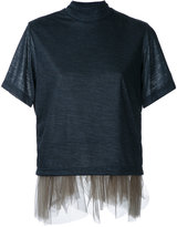 Kolor tulle trim T-shirt - women - Nylon/Wool - 2