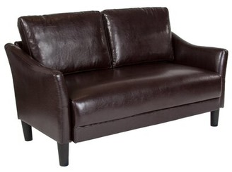 575 Denim Mitesh Square Arm Loveseat Winston Porter Upholstery Color: Brown