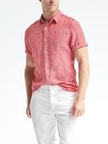 Camden-Fit Solid Linen Short-Sleeve Shirt
