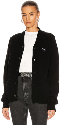 Comme des Garcons Wool Cardigan with Black Emblem in Black | FWRD