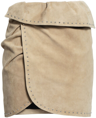IRO Wrap-effect Studded Suede Mini Skirt