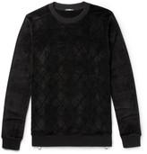Balmain Zip-detailed Velvet Sweater - Black