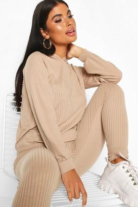 boohoo Petite Knitted Soft Rib Hoody and Legging Co-Ord