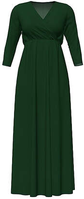 Hunter Bella Flore Women's Maxi Dresses  Green Three-Quarter Sleeve Surplice Maxi Dress - Women & Plus