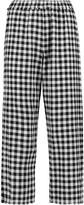 Eight Frayed gingham cotton-blend straight-leg pants