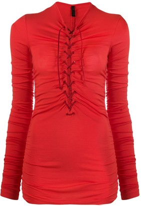 Unravel Project Lace-Up Ruched Top