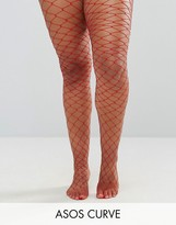 Asos Oversized Fishnet Tights Red