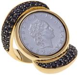 Bellezza 50 Lira Coin 1ctw Black Spinel Bronze Knuckle Ring