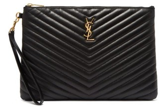 Saint Laurent Logo-plaque Quilted-leather Pouch - Black