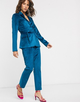 Fashion Union tailored pants in teal velvet