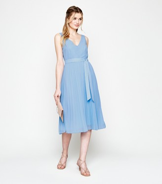 New Look Belted V Neck Pleated Midi Dress