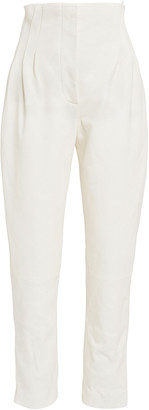 Alberta Ferretti High-Waisted Pleated Leather Pants