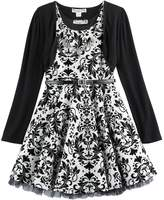 Knitworks Plus Size Girls 7-16 Flocked Skater Dress & Shrug Set with Necklace
