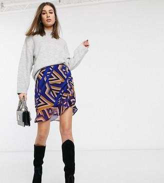 Vero Moda Tall gathered geo print skirt
