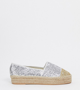 Simply Be extra wide fit glitter espedrille in silver