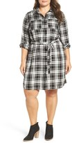 Vince Camuto Shadow Check Belted Utility Shirtdress (Plus Size)
