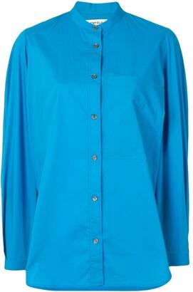 Enfold Long-Sleeved Side Slit Blouse