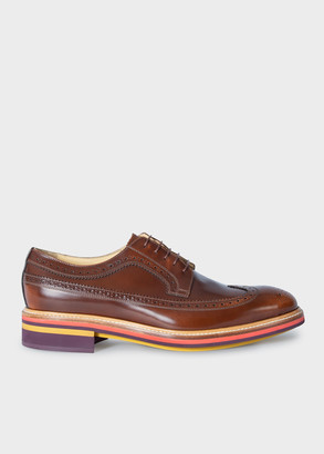 Paul Smith Men's Tan High-Shine Leather 'Chase' Brogues