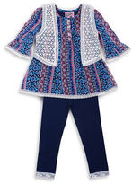 Little Lass Girls 2-6x Three-Piece Boho Vestie Set