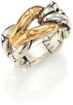 John Hardy Bamboo 18K Yellow Gold & Sterling Silver Link Ring