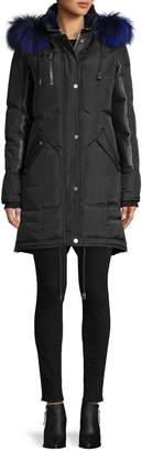 Nicole Benisti Rabbit Fur Down Leather Puffer Coat