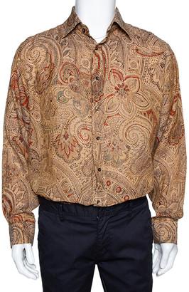Etro Brown Linen Paisley Print Button Front Shirt XL