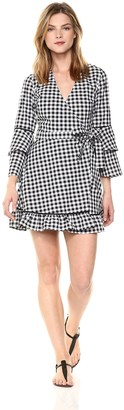 The Fifth Label Women's Idyllic Gingham Tiered Bell Sleeve Aline Wrap Dress