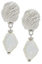 Judith Ripka As Is Sterling Textured and Keshi Pearl Drop Earrings