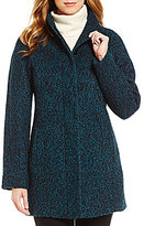 Anne Klein Single Breasted Boucle Wool Coat