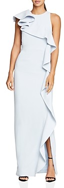 Halston Flounced Crepe Gown