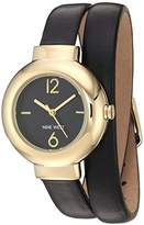 Nine West Women's NW/1964BKST Gold-Tone and Black Double Wrap Strap Watch with Gold-Tone Bangle